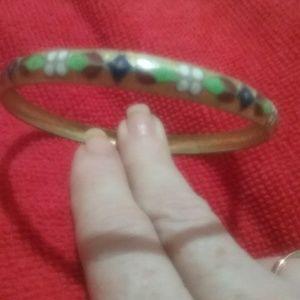 Floral print bangle bracelet